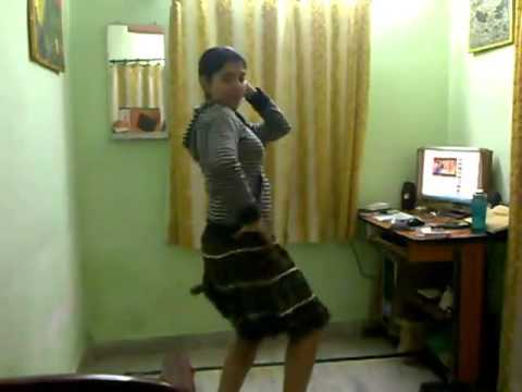 College Girl dancing in home