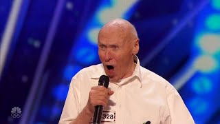 82 Year Old John Hetlinger Full Audition Covers Drowning Pool's 'Bodies' on Americas Got Talent
