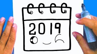 How to draw a cute New Year Calendar 2019, Draw cute things