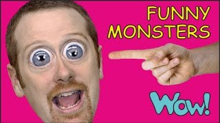 Funny Monsters for kids + MORE English Stories for Children | Steve and Maggie from Wow English TV