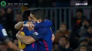 ملخص مبارة برشلونة  و ديبورتيفو لاكورونا   4-0    الدوري الإسباني    17-12-2017 HD