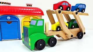 Big Rig Car Carrier Teaching Colors for Kids #1 Best Learning Colours Video for Children Preschool