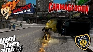 GTA IV LCPDFR Ghost Rider Mod Police Patrol - Episode 13 - Ghost Rider Patrols in Carmageddon Mod