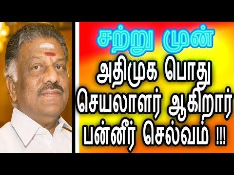 அதிமுக வின் பொதுசெயலாளர் ஆகிறார் பன்னீர் செல்வம் Political News Panner Selvam ADMK