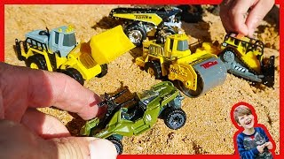 Tonka Little Mighty Machines Toy Unboxing For Kids - Trucks Digging in Sand + Hot Wheels