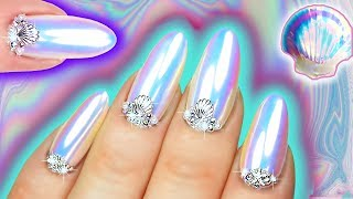 WHITE CHROME NAILS | Mermaid Unicorn Dust Iridescent Nail Art | Sea Shell Nail Swarovski & Pearl