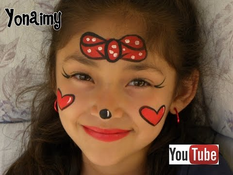 PINTACARITAS DE MINNIE MOUSE FACE PAINTING .