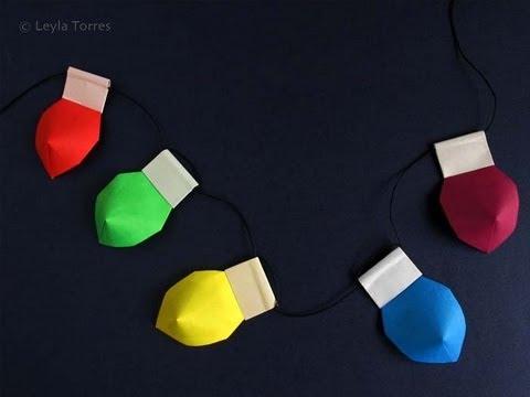 Make Origami Christmas Lights -Luces de Navidad