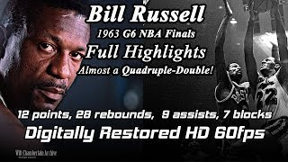Bill Russell (Digitally Restored 60fps). 1963 NBA Finals G6 Full Highlights (12pts, 28reb, 9a, 7b)