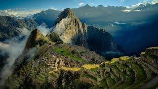 Flying Drone over Machu Picchu in Peru