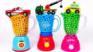 Learn Colors with Candy Toy Vehicles and Toy Blender for Children