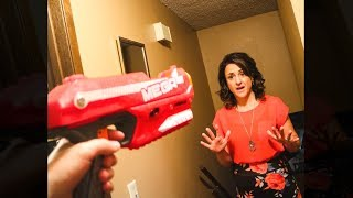 Shooting my mom with an explosive nerf gun dart mod..