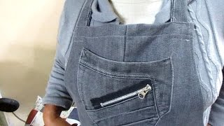 Reciclaje de Jeans: MANDIL DE COCINA con pantalones usados