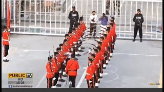 14 August: Special squad's splendid parade in Flag-lowering ceremony at Wagah Border