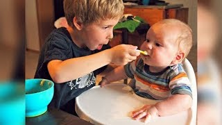 Big Brother/Sister Feed Babies for the First Time | BEST Babies Compilation