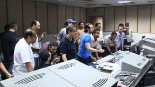 العاملين بقناة صدى البلد اثناء بيان الفريق اول عبد الفتاح السيسي