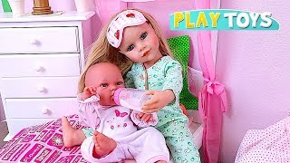 Gotz Baby Doll Feeds and Dresses up her Cute Little Baby for Walk in the Park! 🎀