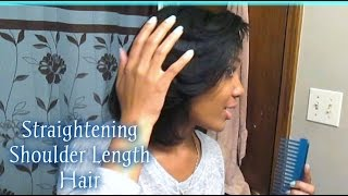 UPDATE: How I Blow Dry & Flat Iron My Relaxed Hair   Slick Edges & More!