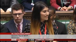 Amazing speech on democracy by Saadia Sajid MYP in the House of Commons Youth Parliament