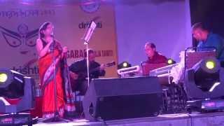 Indira Das singing 'Tokhon Tomar Ekush Bochhor' at Durgabari GK-1 Durga Puja 2014