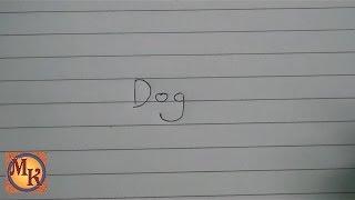 cara menggambar anjing dengan kata dog