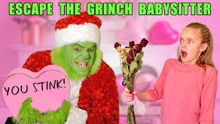 Escape the Babysitter! The Grinch Babysitter Showdown! Escape the Room to Save Valentines Day !
