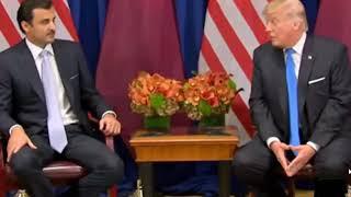 لغة جسد أمير قطر تميم بن حمد مع ترامب رئيس أمريكا