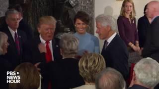 President Donald Trump enters Statuary Hall luncheon
