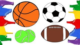 How to Draw and Color - Football Basketball American Football Tennis Balls - Coloring Pages