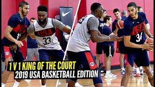 USA Basketball Players Go 1 V 1 King Of The Court! Jayson Tatum, DeAaron Fox, Jaylen Brown & Bam!!