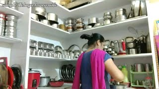 Indian housewife morning busy work