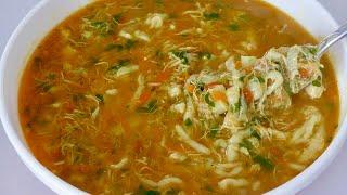 Chicken Homemade Noodle Soup Recipe سوپ مرغ با آش بریده خانگی برای افطار Ramazan Soup