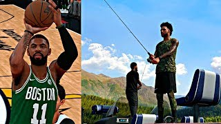 NBA 2K18 MyCAREER - FIRST GAME AGAINST KYRIE IRVING CELTICS! GOING FISHING WITH PAUL GEORGE!