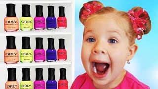 Roma and Diana Pretend Play with color Nail polish and Finger Family song
