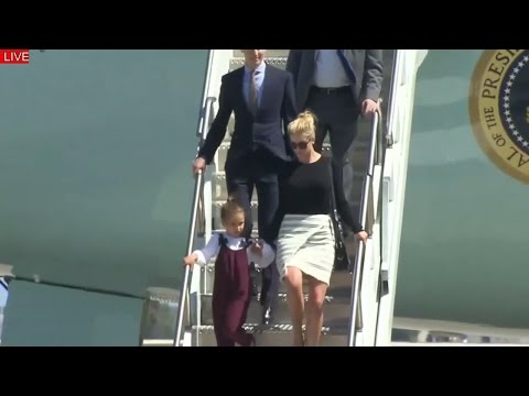 WATCH President Donald Trump arrives in Orlando on Air Force One With His Family Ivanka Trump Kids