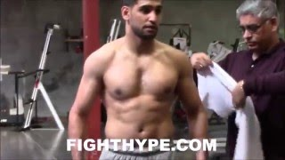 AMIR KHAN LOOKING BIGGER AS HE WORKS HIS WAY TO 155; INTENSE TRAINING FOR CANELO CLASH