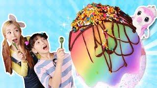 엘리와 유니의 대왕 해치멀 알 아이스크림과 무지개 얼초 만들기ㅣ캐리와장난감친구들