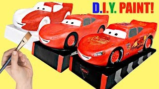 D.I.Y. DIsney CARS 3 Lightning Mcqueen Color Your Own Piggy Coin Bank, Easy Kid Craft Sticker / TUYC
