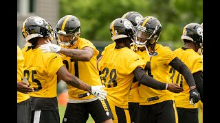Steelers' secondary runs drills at OTAs