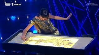 Awesome sand art live performance at Portugal TV by Kseniya Simonova (devoted to Salvador Sobral)