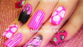 Pink Long Nail Art Design | Vintage Diva Nails with roses and Stripes Tutorial