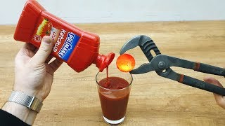 EXPERIMENT Glowing 1000 Degree METAL BALL vs Ketchup