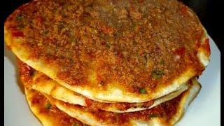 Türkische Pizza-Türkische Rezepte- Ev yapimi Lahmacun tarifi
