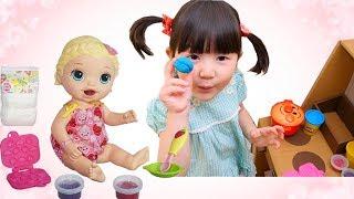 赤ちゃんお世話ごっこ 粘土で英語の色を覚えよう ベビーアライブ Funny kids play doll | HaneMarisWorld