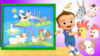 Learn Farm Animals with Baby Matching Heads Puzzle - 3D Animals Sounds for Kids Toddlers Edu Video