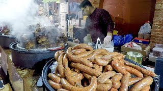 Iraq Style Spicy Chicken, Merguez Sausages from North Africa. World Street Food of London