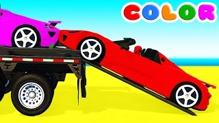 COLOR CARS Transportation and Spiderman Cartoon for babies children w Bus Superheroes for kids!