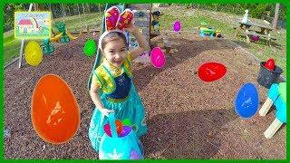 FROZEN ANNA BIG EASTER EGG HUNT FOR HUGE SURPRISE EGGS + Golden Egg Surprise Opening Toy Surprises