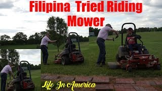 Filipina American Life In America - My Husband Let Me Ride On The Riding Mower First Time-Happy