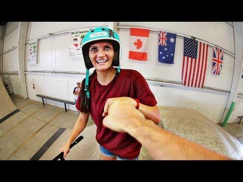 SCOOTER GIRL AT SKATEPARK!